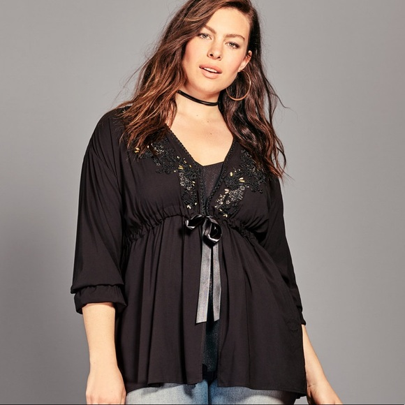 adb4ab198fd torrid Tops   Nwt Black Embroidered Challis Tie Front Top Size 2 ...